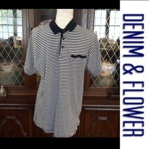 size L Denim & flower ricky singh golf shirt
